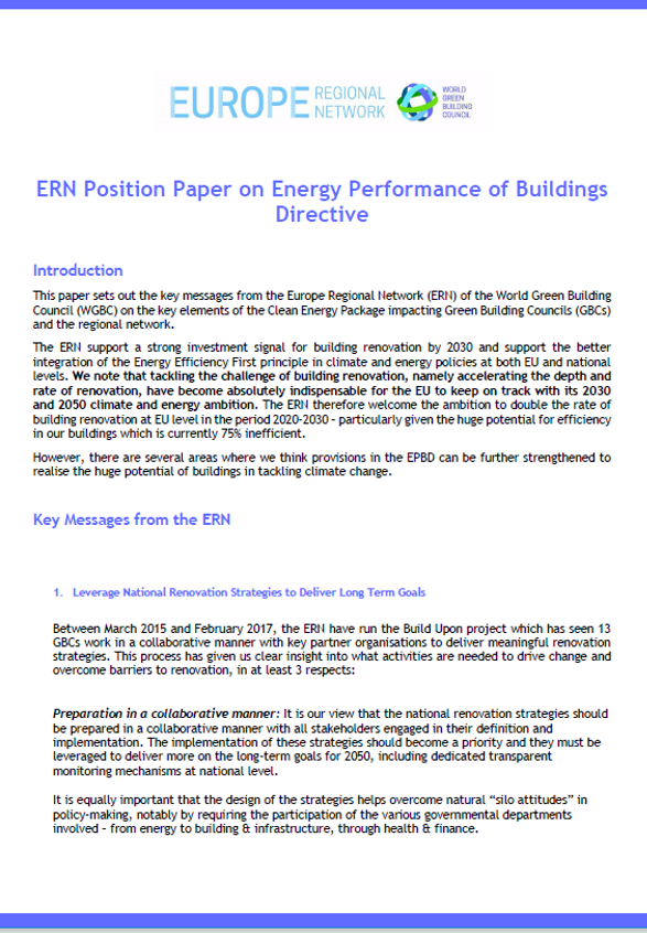 ERN position paper on Energy Performance of Buildings